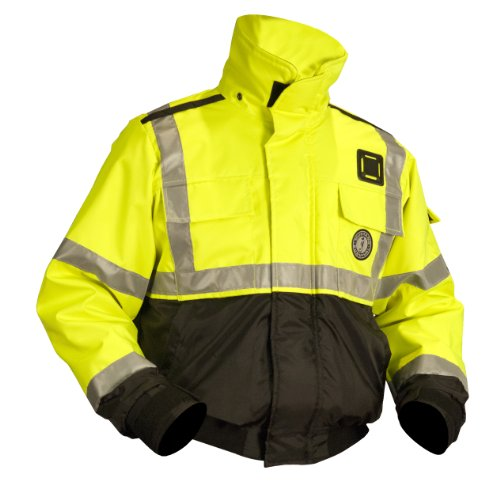 (MUSTANG SURVIVAL High Visibility Flotation Bomber Jacket, Fluorescent Yellow,)