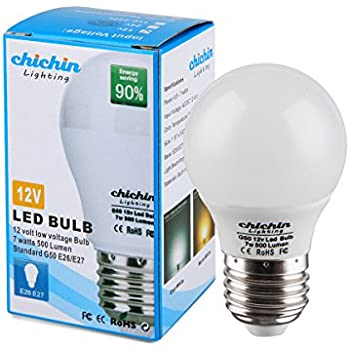 ChiChinLighting Low Voltage 12 Volt 7 Watt LED Light Bulb - E26/E27 Standard Base - Daylight White (Cool White) 6000k 7w Light Bulb – AC DC Compatible- RV, ...