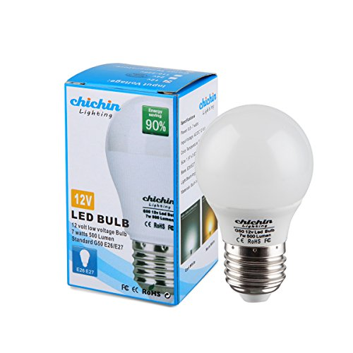 ChiChinLighting Low Voltage 12 Volt 7 Watt LED Light Bulb - E26/E27 Standard Base - Daylight White (Cool White) 6000k 7w Light Bulb - AC DC Compatible- RV, Marine LED Lights