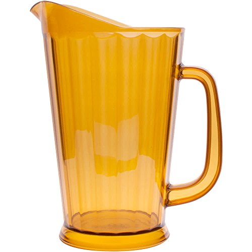 60 oz. Amber Plastic Pitcher, Dishwasher Safe, Break Resistant, for Indoor and Outdoor Entertaining, by GET P-1064-1-A-EC (Qty,1) (Plastic Dishwasher Safe Pitcher)