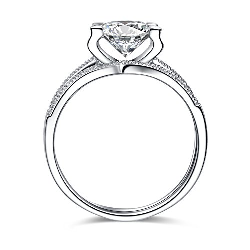 Engagement Rings for Women 925 Sterling Silver 1ct Round Cubic Zirconia Wedding Promise Ring for her 10