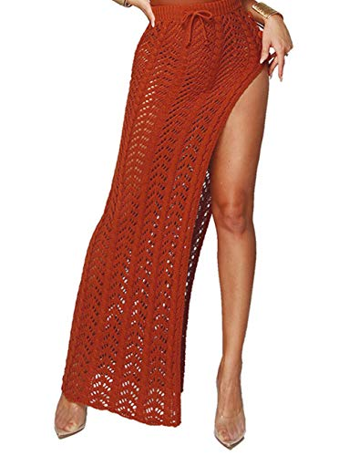 Womens Long Crochet Knit Swim Cover Up Skirt Sexy Mesh Hollow Out Beach Wear Party Dress Red from Kistore