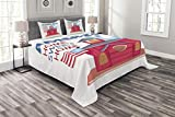 Lunarable Americana Bedspread Set King Size, Cartoon Style Birdhouse with United States Flag Home Sweet Home America Patriotic, Decorative Quilted 3 Piece Coverlet Set with 2 Pillow Shams, Multicolor