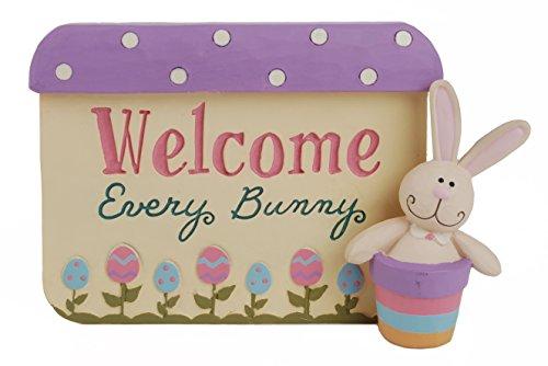 Blossom Bucket Welcome Every Plaque W/Bunny Home Décor -