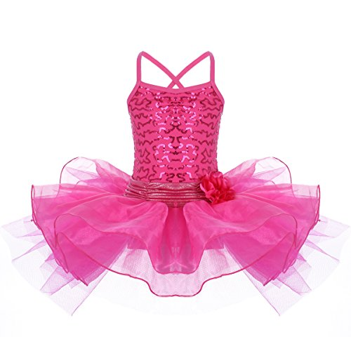 IWEMEK Toddler Girls Kids Sequin Flower Camisole Gymnastic Ballet Leotard Dance Tutu Dress Sleeveless Skating Fairy Ballerina Princess Dancewear Cross Back Athletic Sports Skirt Costume Rose 6-7