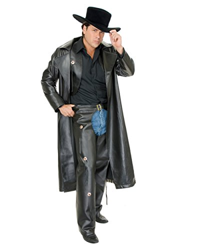 Men, Large (42-44) Pleather Cowboy Costume Duster for Men (Duster Only), (Duster Leather)
