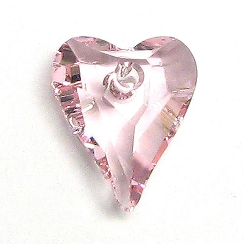 2 pcs Swarovski Crystal 6240 Wild Heart Charm Pendant Light Rose 12mm / Findings / Crystallized Element Closure Findings