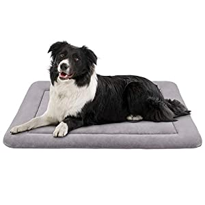"JoicyCo Large Dog Bed Crate Pad Mat 36""/42""/47"" Washable Non-Slip Bottom Pet Bed Cat Beds Mattress Kennel Pads 18"