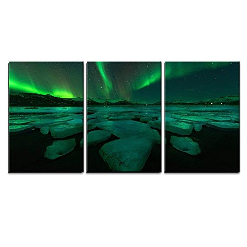 wall26 - 3 Piece Canvas Wall Art - Northern Lights Aurora Borealis in The Night Sky Over Beautiful Lake Landscape. - Modern Home Decor Stretched and Framed Ready to Hang - 16