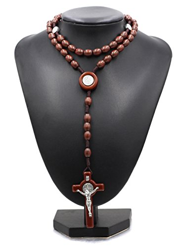 Saint Benedict St. Benedict Crucifix Wooden Intercession Rosary Necklace Catholic Prayer Beads Medal Bracelet, San Benito intercesión Rosario crucifijo Hombre Mujeres de Madera