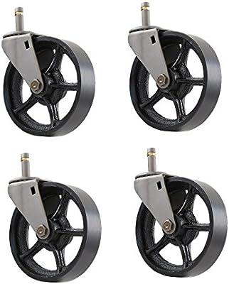 ANTIQUE FURNITURE CASTER SET Cast Iron Metal Stem Swivel Vtg Table Wooden Wheel