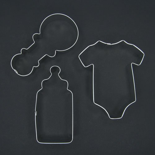 Baby Onesie Rattle Bottle Cookie Cutter Set for Boy Girl Baby Shower Party Favors Gift Decoration ()
