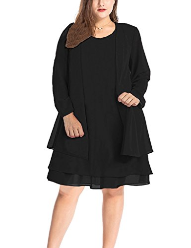 MERRYA Women's Plus Size Business Chiffon Jacket Mother of The Bride Dress Suit (Black, 2X Plus) ()