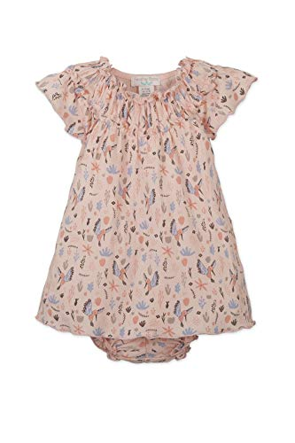 Bubble Tunic Top - Feather Baby Girls Clothes Pima Cotton Short Sleeved Ruched Tunic Top and Bubble Bloomer Set (3-6 Months, Winged Bird on Coral)