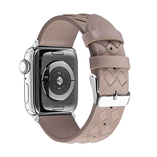 Secbolt Leather Bands Compatible with Apple Watch Band 38mm 40mm iWatch Series 5/4/3/2/1, Soft Braided Leather Strap for Women, Tan (38mm/40mm)
