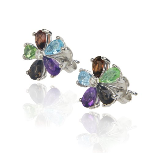 Platinum Plated Sterling Silver Multi-Gemstone Diamond Accent Flower Earrings