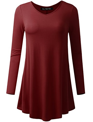 A.F.Y All For You Women's Long Sleeve V-neck Flare Hem Tunic Burgundy ()