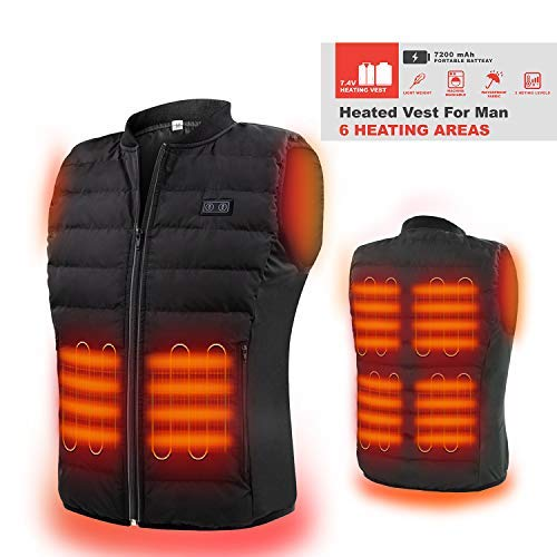 HOOCUCO Lightweight Heated Vest,Washable Size Adjustable Electrice,for Outdoor Hiking, Hunting,Motorcycle,Camping for The Elderly Aged Men Women (L)