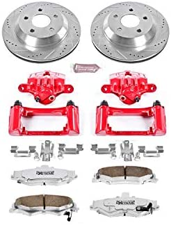 1998-2002 Chevy Camaro Pontiac Firebird E-Coated Slotted Drilled Rotors + Ceramic Pads KT012281 Fits Max Brakes Front Elite Brake Kit