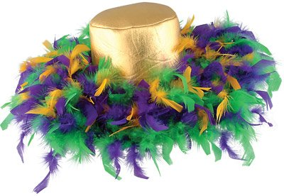 Mardi Gras Feather Hat (golden-yellow, green, purple) Party Accessory  (1 count) (Mardi Gras Decorating)