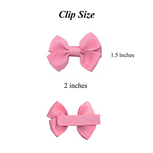 b5297e3da384a Prohouse Tiny Hair Bows Fully Lined Hair Clips for Baby Girls Fine Hair  Infants Toddlers