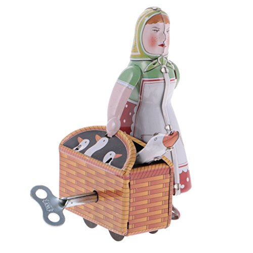 MagiDeal Wind Up Tin Toy Walking Peasant Woman with Basket Clockwork Collectible Gift ()