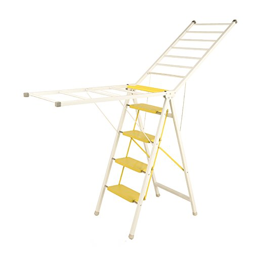 Folding Ladder Airfoil Drying Rack 4 Steps Stools Dual Use H