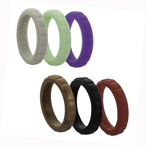 Copper Jewel (Silicone Wedding Ring for Women Stackable Silicone Wedding Band - 6 Pack - Rubber Stackable Diamond Rope Jewel Brick Design (Brick - Mint,Purple,Red,Grey,Copper, Black, 4))
