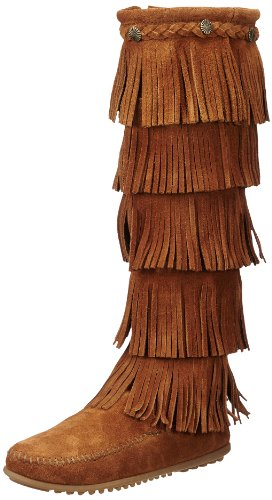 Minnetonka Women's 5-Layer Fringe Boot,Brown,8 M US ()