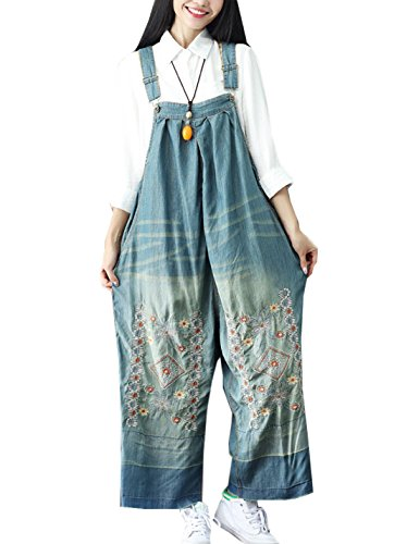 Denim Vintage Overalls - Flygo Women's Loose Baggy Denim Wide Leg Jumpsuit Rompers Overalls Harem Pants (One Size, Style 02 Blue)
