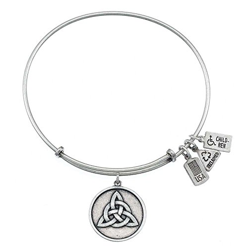 (Wind and Fire Triquetra Celtic Knot Silver Plated Charm Bangle)