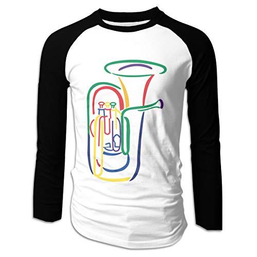 Lispit Men's Tuba Outline Fashion Stitching T-Shirt S
