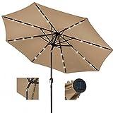 10ft Outdoor Patio Aluminium Umbrella Sunshade UV Blocking Pre-installed Solar Power LED w/Hand-Crank and Tilt System - Tan #1901
