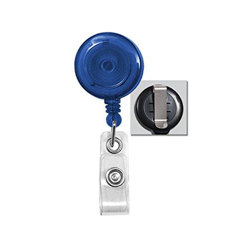 Royal Blue Round Translucent Plastic Badge Reel - Belt Clip - Clear Vinyl Strap (100pk)