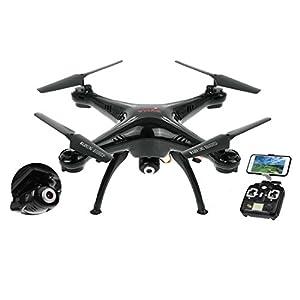 Kiditos Syma X5SW Wi-Fi FPV Real-time Camera 2.4G 4CH 6-Axis Gyro RC Drone UAV RTF UFO Headless Quadcopter (Black)