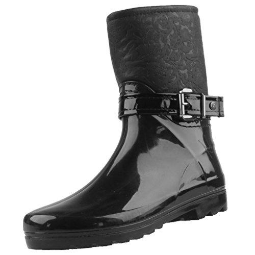 Gosch Shoes Sylt - Mujer Booty Botas de agua 7102-502-9 Caña media forrado Negro
