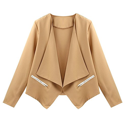 MIRRAY Autumn Outerwear Khaki Outwear Loose Coats Top V Neck Sleeve Solid Front Ladies Long Size Large Bat Womens Cardigan Waterfall Casual Wing Open rqWpxtnrCw