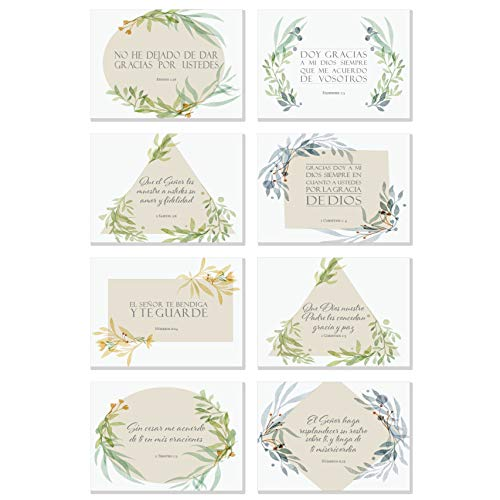 48 Pack Spanish Thank You Inspirational Bible Verse Note Cards | 8 Unique Scripture Card Designs | Single Sided with Envelopes