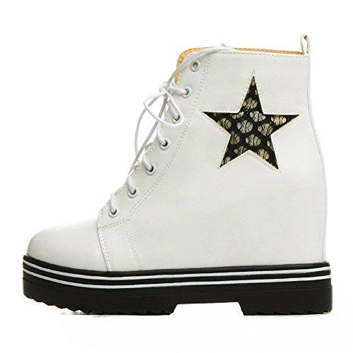 AllhqFashion Damen Schnüren Hoher Absatz Gemischte Farbe Niedrig-Spitze Stiefel mit Knoten Weiß