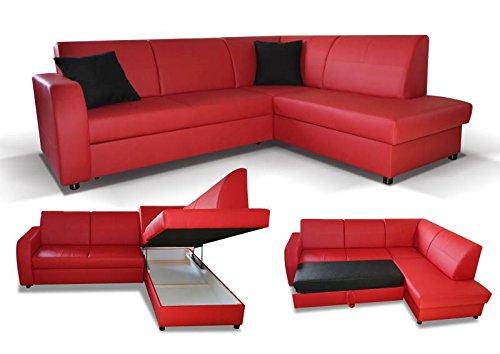 Polstermöbel Giovanna in rot mit Staukasten und Bettfunktion – Abmessungen: 245 x 200 cm (L x B) - Ottomane: Links