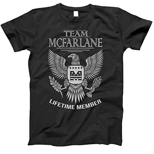 Team Mcfarlane Lifetime Member Family Surname T-Shirt for Families with The Mcfarlane Last Name Large Black