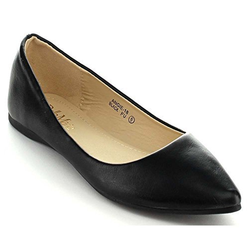 Image of BellaMarie Angie-18 Women's Classic Pointy Toe Ballet Flat Shoes,7.5 B(M) US,Black