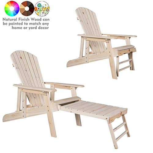 kdgarden Cedar/Fir Log Wood Fanback Adirondack Chair with Pull-Out Ottoman, Outdoor Lounge Furniture for Patio Lawn Garden Backyard Beach Porch Balcony, Large Wooden Adirondack Chair, Natural Finish