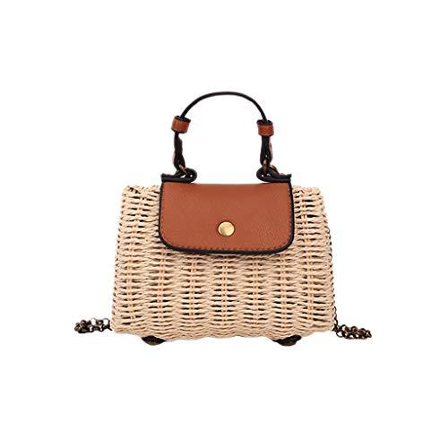 - Outique Beach Bag,Women New Wild Hand Woven Chain Bag Beach Handbag Messenger Summer Crossbody Shoulder Bag