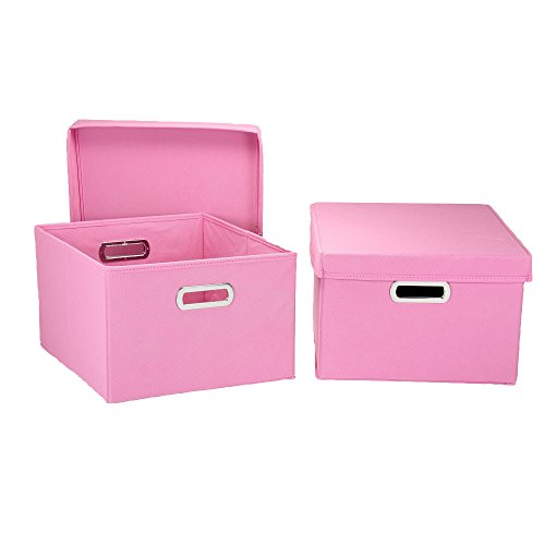 Household Essentials Fabric Storage Boxes with Lids and Handles]()
