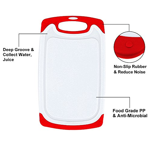 Plastic Cutting Board, 3 Packs Chopping Board with Food Grade PP Anti-Microbial and Deep Drip Juice Groove for Kitchen Tool-Red by JOSHNESE (Image #2)'