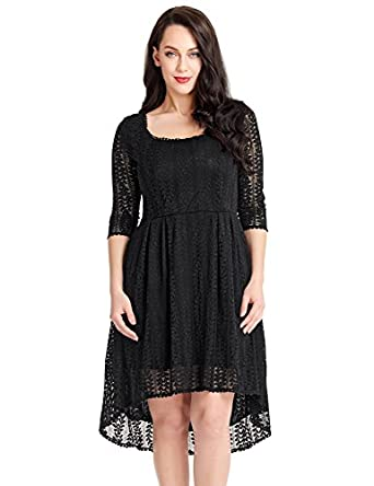 Luvamia Womens Plus Size Black Lace Hi Lo Scoop Neck Skater Dress