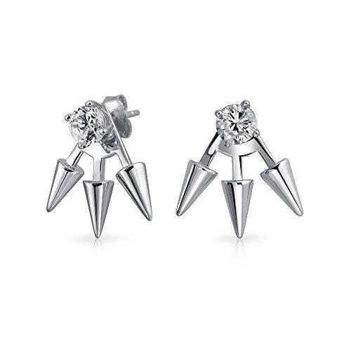 - Goth Triple Spike Point Arrow Cubic Zirconia Jacket Stud Earrings For Women 925 Sterling Silver