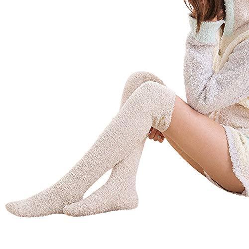 URIBAKE Women Girls Mesh Fleece Stockings Embroidery Towel Warm Long Over Knee Indoor Socks