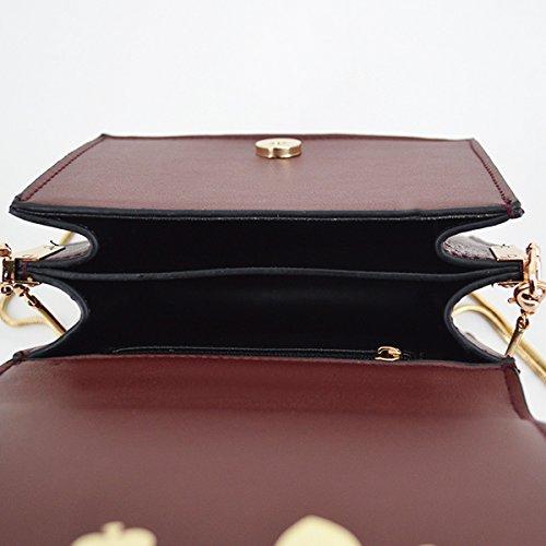 Bag Shoulder Bag Women Pendant PU Crossbody Goodbag Boutique Vintage Chain Wine Leather Bag SqwPBvw